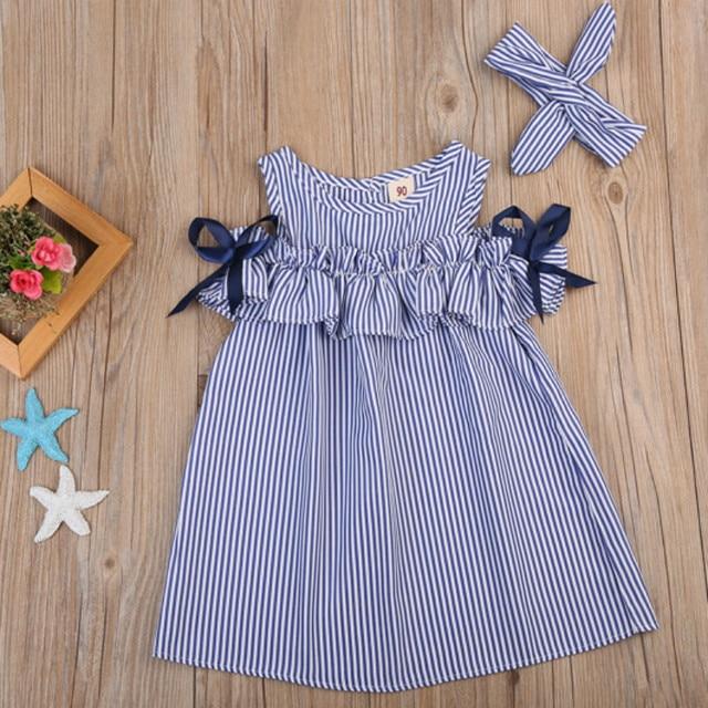 Hot 2018 Novo Vestido de Verão Da Criança Do Bebê Dos Miúdos Meninas Encantadoras Roupas Listrado Azul Off-ombro Ruffles Vestido de Festa de Aniversário vestidos