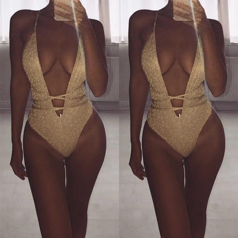 2019 Wanita Baju Renang Halter Satu Piece Push Up Swimsuit Perban Satu Potong Pakaian Renang Baju Renang