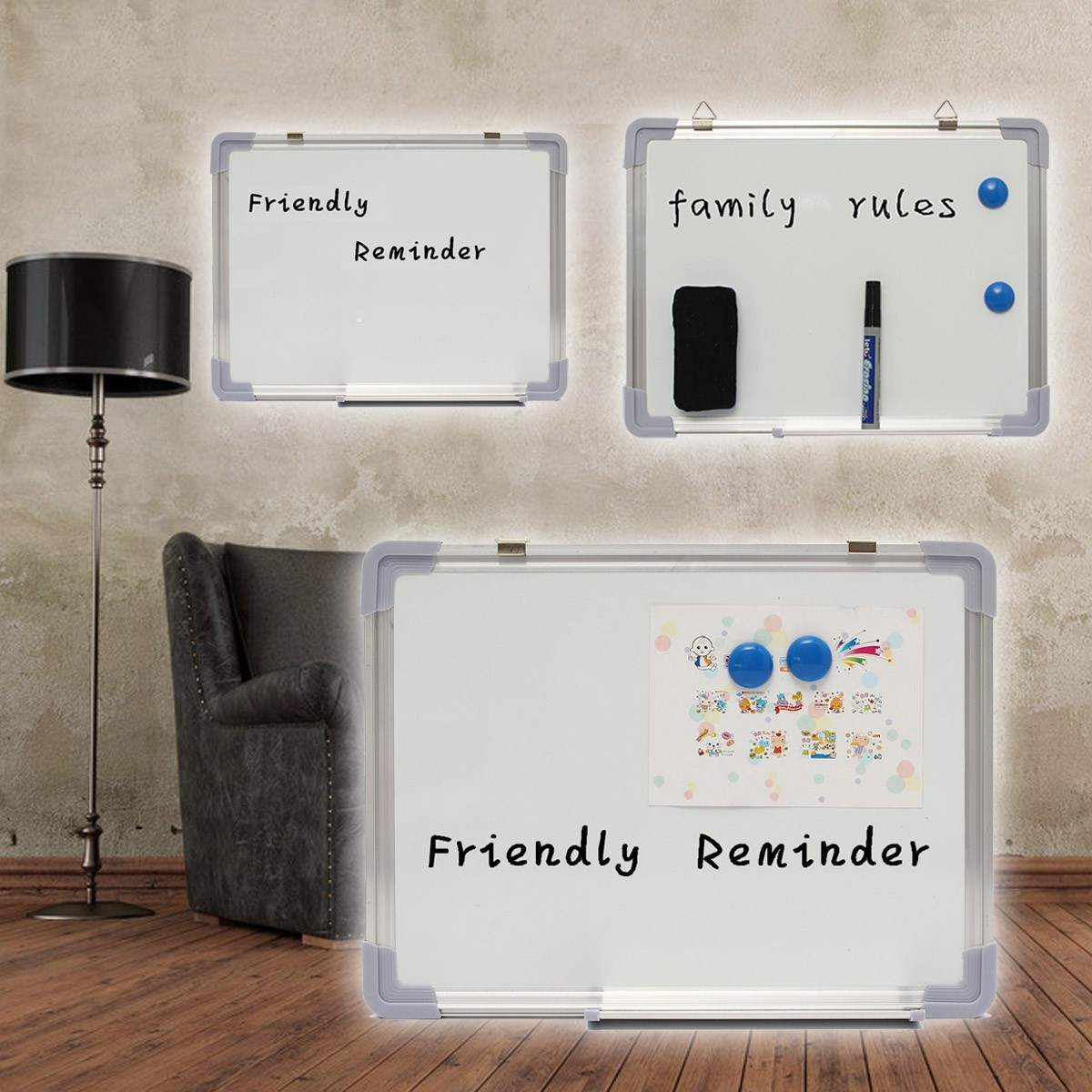300x400MM Magnetic  Whiteboard Writing Board Double Side With Pen Erase Magnets Buttons For Office School
