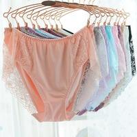 3 Pics/pack Underpants Milk Silk Lining Lace Triangle Underwear Women Plus Size Briefs Favourite Mid Rise 2L 3L 4L