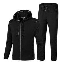 Men Two Pieces Set New Fashion Hooded Sweatshirts Sportswear Tracksuit Hoodie Autumn Large size 9XL  Jacket+Pant