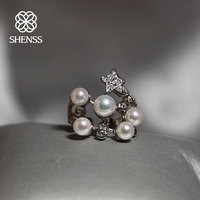 Elegant Quality 925 Rings Adjustable Fashion Pearl Ring 925 Sterling Silver Ring 925 Jewelry