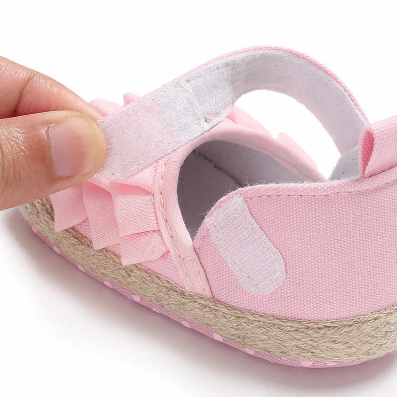 Lovely Floral Ruffle Baby Newborn Toddler Girl Soft Sole Crib Shoes Pram Soft Sole Prewalker Anti-slip Baby Casual Shoes 0-18M