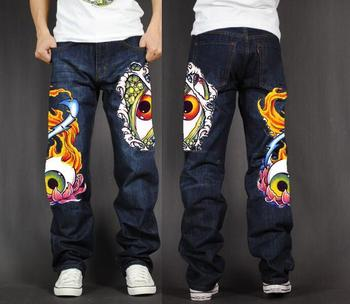 Men's Long Pants Baggy Loose Fit Jeans Rap Hip Hop Skate Denim Totem Print Trousers Straight Stretch Casual Trousers Eyes