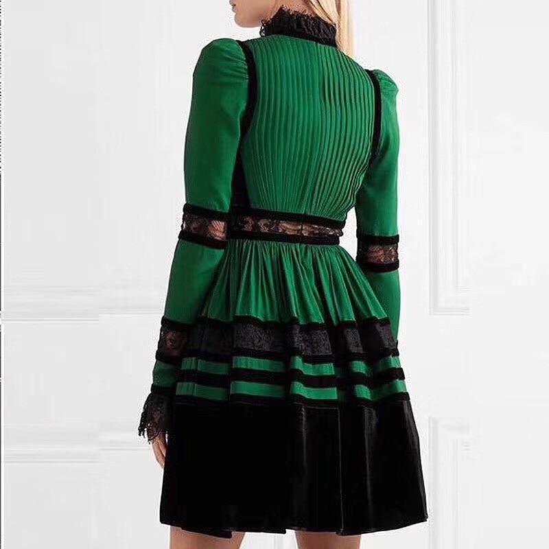 A Deat Patchwork Stand Robe Taille Féminine Bas Femme Printemps ligne Dentelle Collier 2019 Sexy Mode Haute Min Wd73006l Green Nouveau Pour Sxwpq1SOr