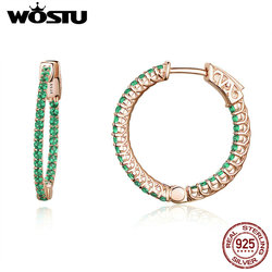WOSTU Luxury Brand  925 Sterling Silver Round Green Earrings For Women Fashion Hoop Earrings CZ Women Jewelry Party Gift CQE511