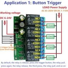 4ch с источником питания от постоянного тока, 6 V-24 V флип-флоп триггерный релейный модуль бистабильный и самозапирающийся электронный выключатель низкого импульсный триггер кнопка на плате MCU IO Управление