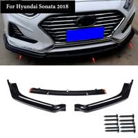 Capa frontal do para-choque do carro 3 pçs/set  guarnição para hyundai sonata híbrido 2018  partes externas automotivas  brilho  preto  abs frontal pára-choque
