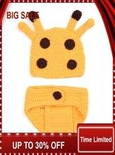 wholesale Baby Crochet Deer Set Infant Kids Crochet Photography Props Kids Costume Hat Diaper sets 1set