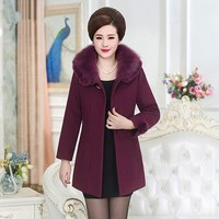 2018 Winter Women Elegant Slim Medium Long Coat Korean Style Middle age Coat Woolen Cashmere Outerwear