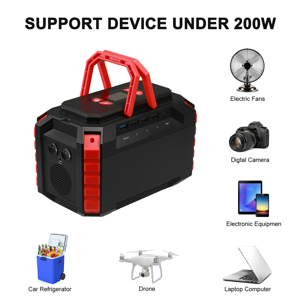 Portable Power Station 222Wh Lithium Battery Supply with AC DC QC3 0 USB Ports for Camping