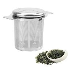 Нержавеющая сталь чай Infusers корзина мелкая сетка чай Крышка Ситечка чай и кофе фильтры с 2 ручками многоразовые