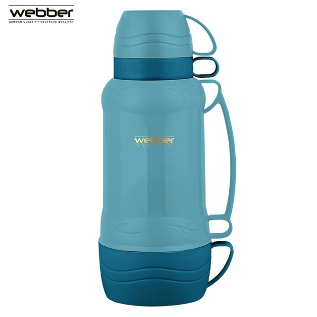Термос со стеклянной колбой Webber 42000/19S 1,0 л, бирюзовый, со стеклянной колбой с узкой горловиной