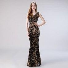 Vivian's Bridal Elegant Squin Floral Appliques Maxi Prom Dress