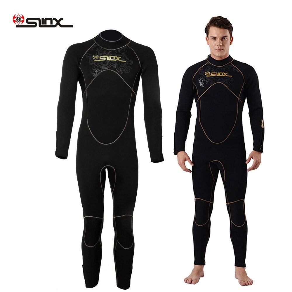 SLINX 5mm combinaison hommes néoprène combinaison manches longues polaire chaude surf combinaison de plongée plongée corps complet plongée en apnée surf combinaison