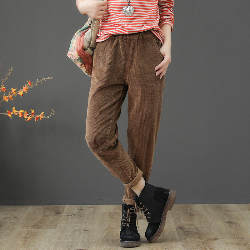 Vintage Corduroy Pants Spring Autumn Woman Mid Waist Full Length Loose Harem Femme Casual Trousers Plus Size 3XL