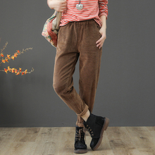 Vintage Corduroy Pants Spring Autumn Woman Mid Waist Full Length Loose Harem Pants Femme Casual Trousers Plus Size 3XL