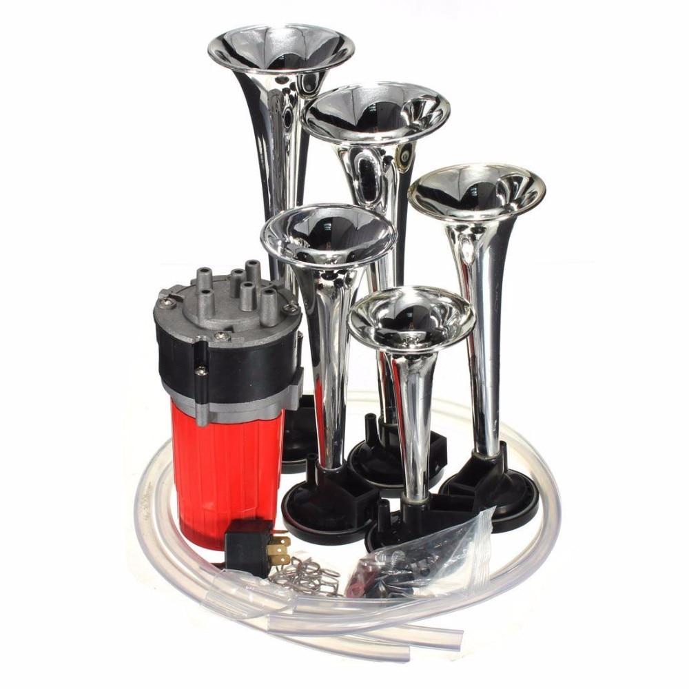 OHANEE 125db 12V 5 silver Dixie Car Trumpet air horns DIXIE Musical Air Horn Dukes of