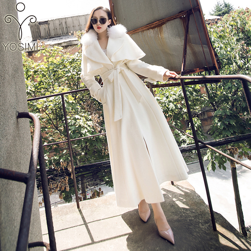 YOSIMI 2018 Inverno Maxi Bianco Elegante di Lana Lungo Delle Donne del Cappotto Outwear Vestiti di Lana Lungo Cappotto con Collo di Pelliccia di Agnello Delle Donne cappotti