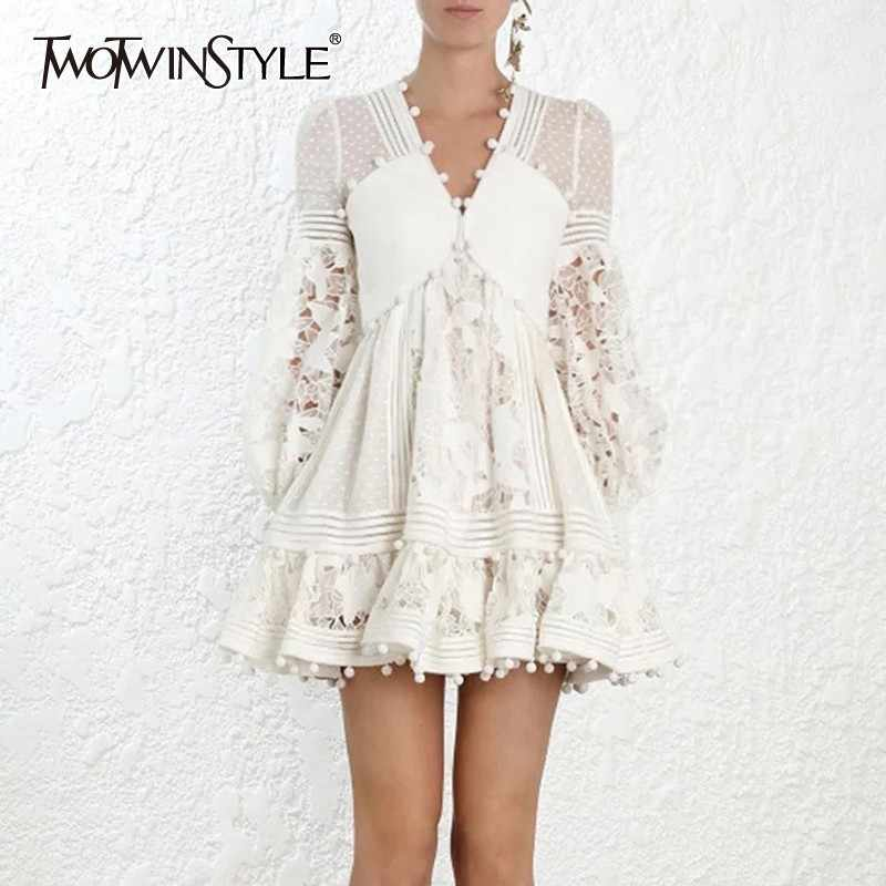 TWOTWINSTYLE Summer Elegant High Waist Dress For Women V Neck Lantern Sleeve Hollow Out Patchwork Mini Dresses Female 2019