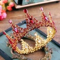 Luxury Red Rhinestone Wedding Crown Gold Color Bridal Headdress Hair Jewelry Baroque Queen Large Round Tiara Costume Headpiece