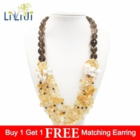 Lii Ji Natural Citrine Smoky Quartz Keshi Pearl Necklace Jade Toggle Clasp Approx 62cm