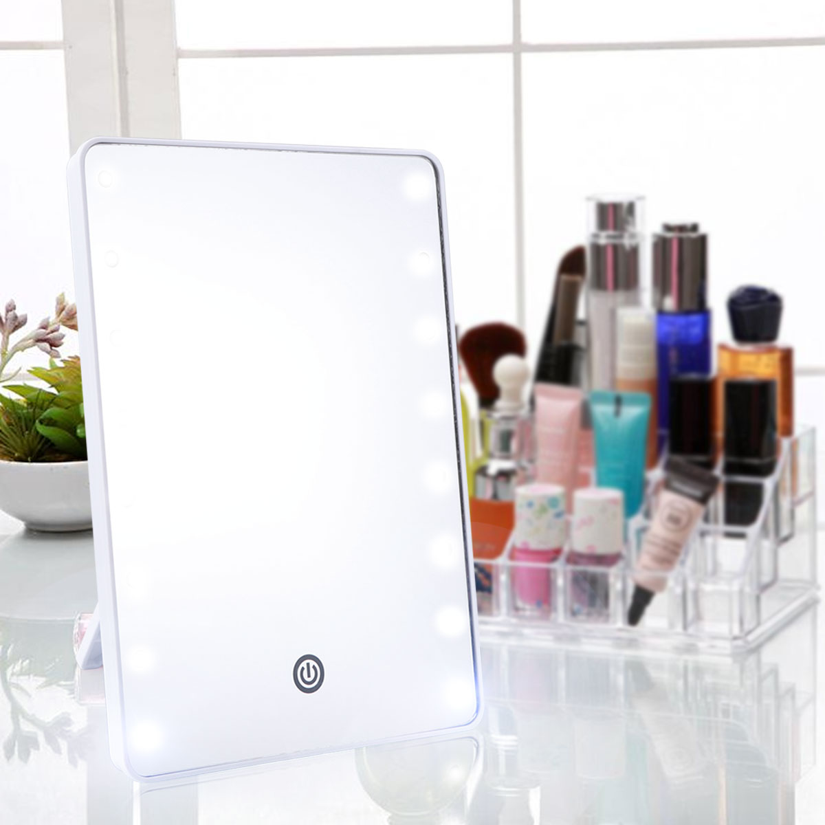 Makeup Mirror With 16 LEDs Cosmetic Mirror With Touch Dimmer Switch Battery Operated Vanity Mirror For Tabletop Bathroom
