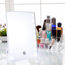 цена на Makeup Mirror With 16 LEDs Cosmetic Mirror With Touch Dimmer Switch Battery Operated Vanity Mirror For Tabletop Bathroom