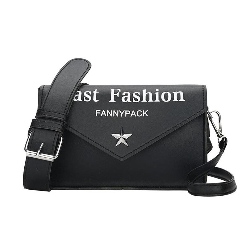 Women Fanny Packs Ladies Letters Printed PU Leather Belt Bags Phone Pouch Female Waist Bags
