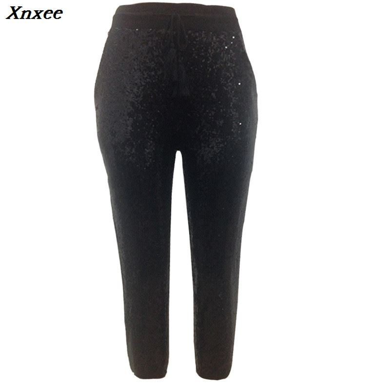 Fashion Sequin Pencil Pants 2019 New Hot Solid Black Gold Women Drawstring Waist Bling Party Nightclub Calf length Trousers in Pants amp Capris from Women 39 s Clothing