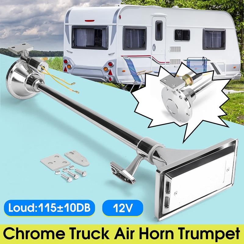 Хромированный металл 12 V 115 10db Chrome клаксон грузовика для больших установок громкий один длинный трубки трубы 60 см