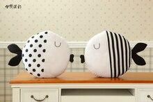 2107 Kawaii Black White Kiss Fish Decorative Pillows Cojines Creative Animal Plush Doll Toys Deer Cushion Shapes