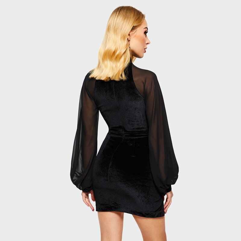 المرأة البسيطة فساتين عارضة القوطية الأسود الصيف Bodycon نفخة كم اليوسفي طوق سستة الصلبة الجوف شبكة الإناث أنيقة اللباس