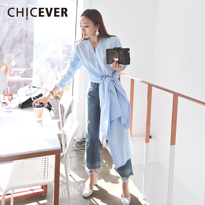 CHICEVER 2019 Women's Shirt Blouses Hem High Split Two Wear Long Sleeve Bandage Slim Shirts Clothes Fashion Korean Casual New