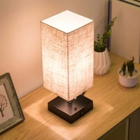 LED Table Lamp USB Desk Lamp, reading lamp nightlight for bedroom with Unique Shade and Brown Base