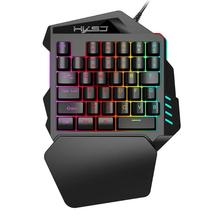 все цены на New Arrival V100 1.6m Wired Gaming Keyboard Mechanical Feel Backlight 35 Keys One-handed Keyboard Black For Pc Mini Keyboard онлайн