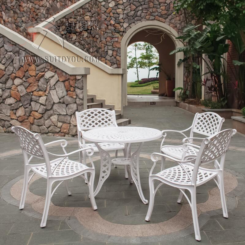 5-piece Solid-cast Aluminum Patio Furniture Garden Set Heaving Duty Round Dining Table Arm Chair Set For Bar Clubs