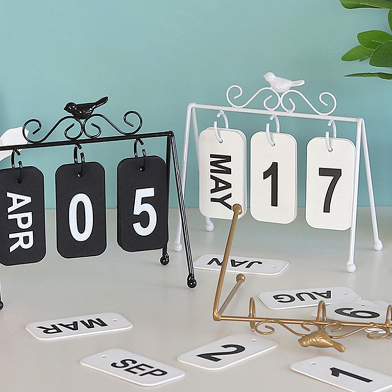 Personality DIY Bird Wrought Iron Flip Calendar Home Desk Decoration Table Calendar Ins Style Coffee Shop Study Photography Prop