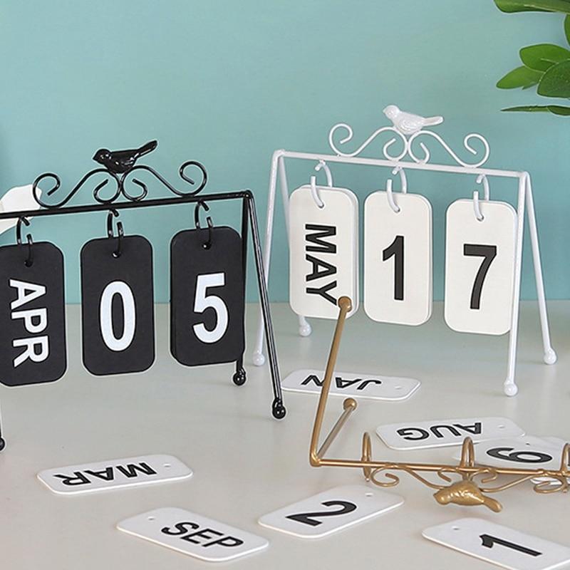 Personality DIY Bird Wrought Iron Flip Calendar Home Desk Decoration Table Calendar Ins Style Coffee Shop Study Photography Prop