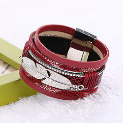 Nouvelle Mode Alliage Plume Feuilles Grand Magntique En Cuir bracelets et bracelets Multicouche Bracelets Bijoux pour Femmes