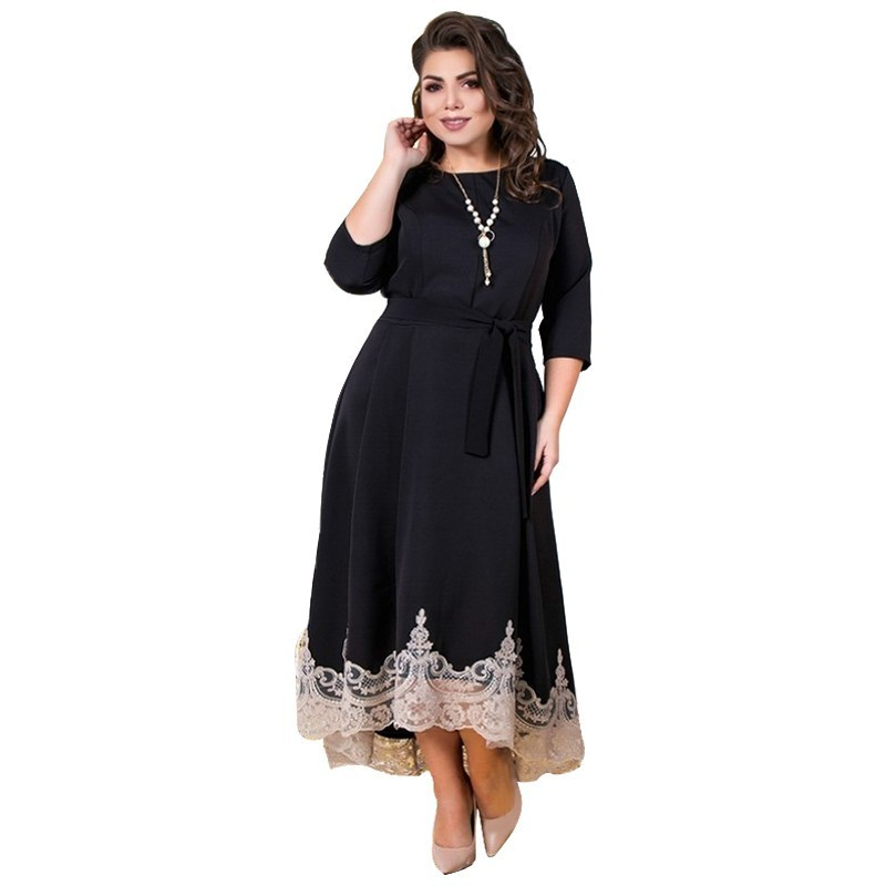 2019 Summer Women Dress Black Lace Party Dress Plus Size Long Dress Christmas Elegant Maxi Dress 5XL 6XL Large Vestidos