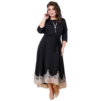 2019 Summer Women Dress Black Lace Party Dress Plus Size Long Dress Christmas Elegant Maxi Dress 5XL 6XL Large Vestidos