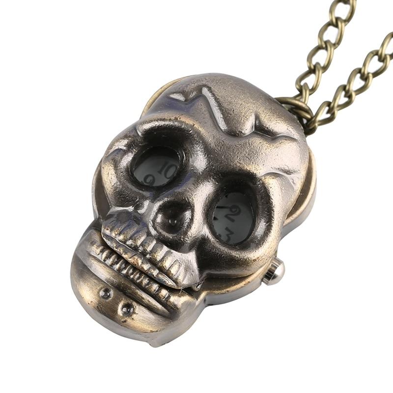 Punk Skull Quartz Pocket Watch Retro Bronze Ghost Necklace Pendant Clock Toys Chain Jewelry Souvenir Gift For Men Women Children