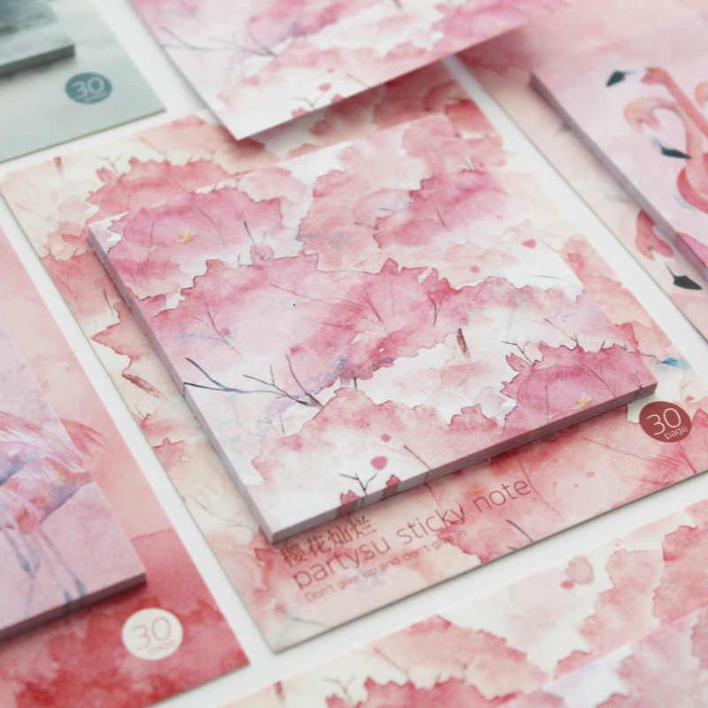 Flamingo Merah Muda Memo Pad Kawaii Cherry Sticky Notes Cina Vintage Retro Perencana Mingguan Kertas Menulis Bantalan Kantor Sekolah