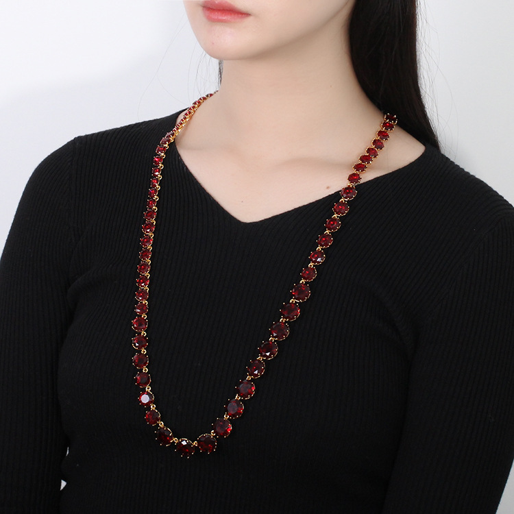 Free shipping fashion blue star necklace complex pomegranate red necklace