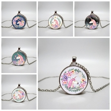 Handmade jewelry cute unicorn vintage necklace glass convex round pendant necklace female retro party gift
