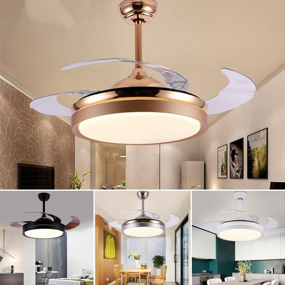 Modern Ceiling Fan Indoor Lightings Led Lamp Ceiling Fans Lights Acrylic Leaf Ceiling Fans 220v 42 Inch For Livingroom Parlor Ceiling Lights & Fans
