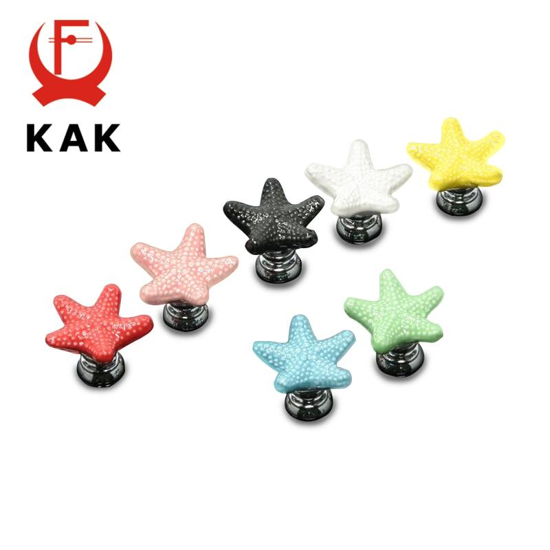 KAK Starfish Ceramic Drawer Knobs Cabinet Pulls Kitchen Handles Cartoon Furniture Handle For Kids Room Furniture Hardware