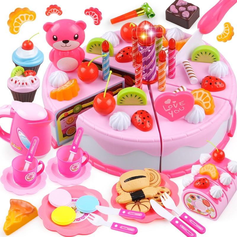 37-80 pces diy bolo de brinquedo cozinha comida fingir jogar corte frutas brinquedos de aniversário cocina de juguete rosa azul para o miúdo educacional presente