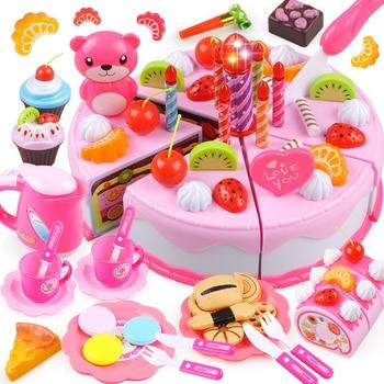 37-80PCS DIY 케이크 장난감 주방 음식 척 과일 절단 생일 장난감 Cocina 드 Juguete 핑크 블루 아이 교육 선물
